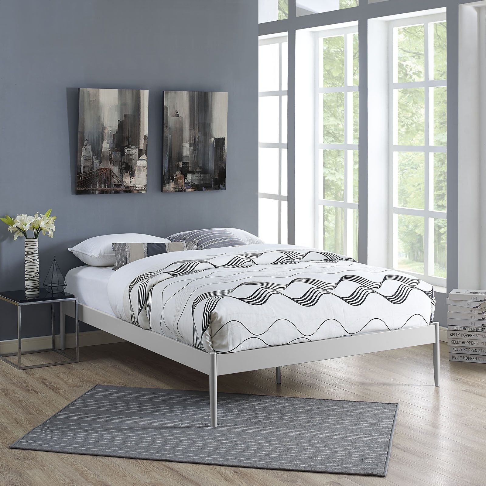 Modway Elsie Stainless Steel Bed Frame in Gray (King), Grey | Bed ...