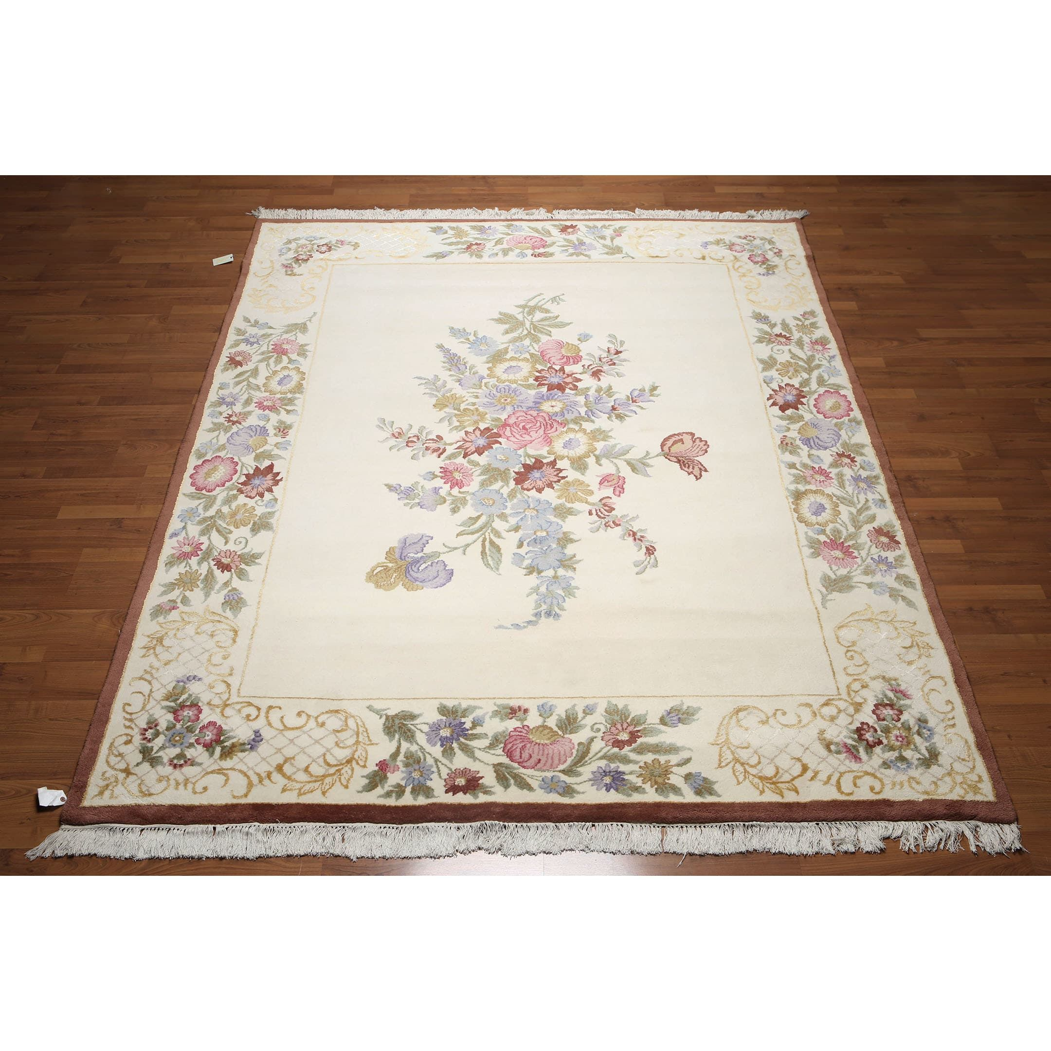 Victorian Multicolor Wool And Silk Thick Pile French Aubusson Savonnerie Area Rug 8 X 10 X10 Multi Color Size