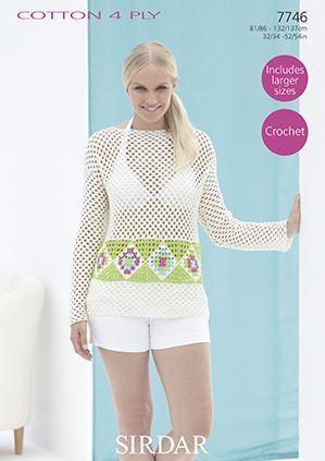 Sirdar Cotton 4 Ply Summer Top Crochet Pattern 7746 | Summer tops ...