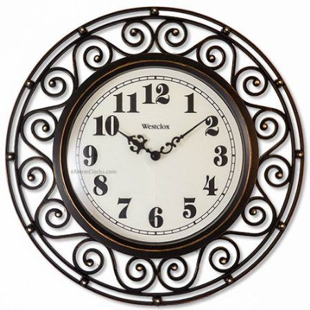 Amazon Com Westclox 32021 Round Filigree Rubbed Clock 12 Inch Bronze Wall Clock Wrought Iron Design Frames On Wall