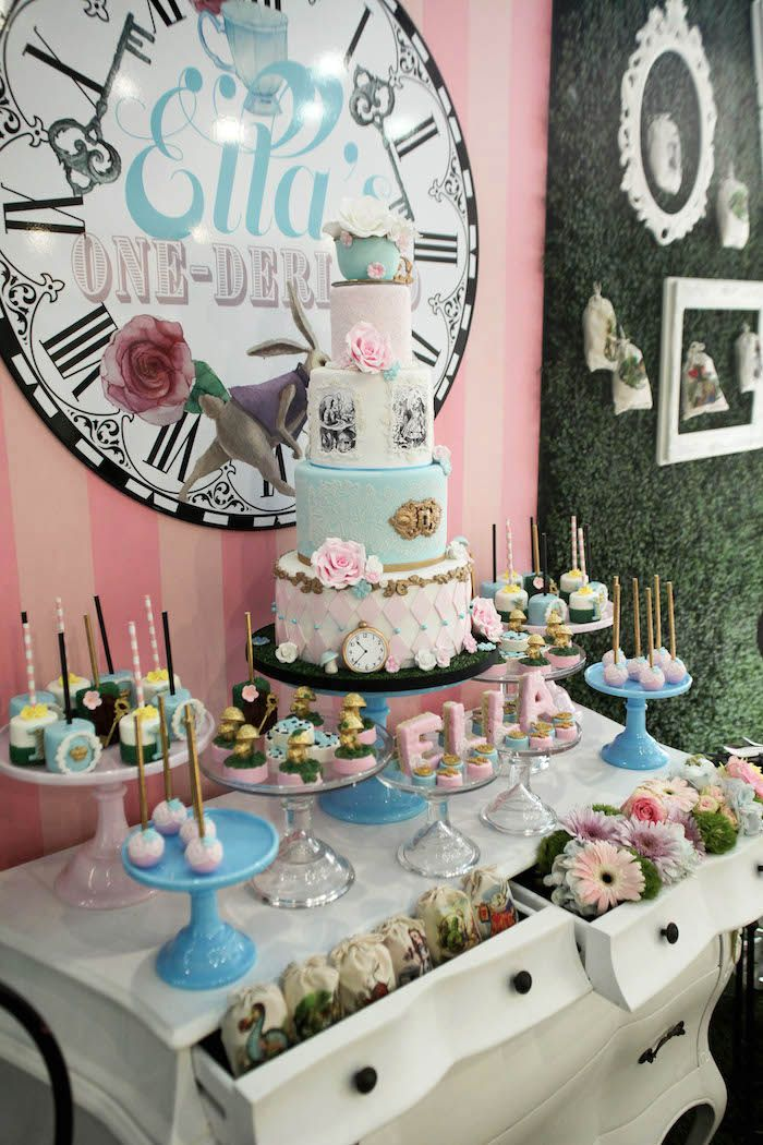 Side view of a dessert table from an