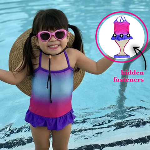 c47d758bed Little girl at pool wearing FASTEN swimsuit