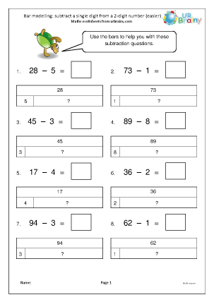 Bar Modelling Subtract A Single Digit From 2 Digits Easier Bar Model Subtraction Math Sheets