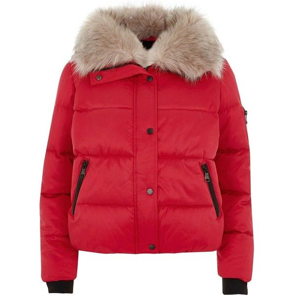 11754795ed9 River Island Red faux fur collar puffer jacket ($130) ❤ liked on ...