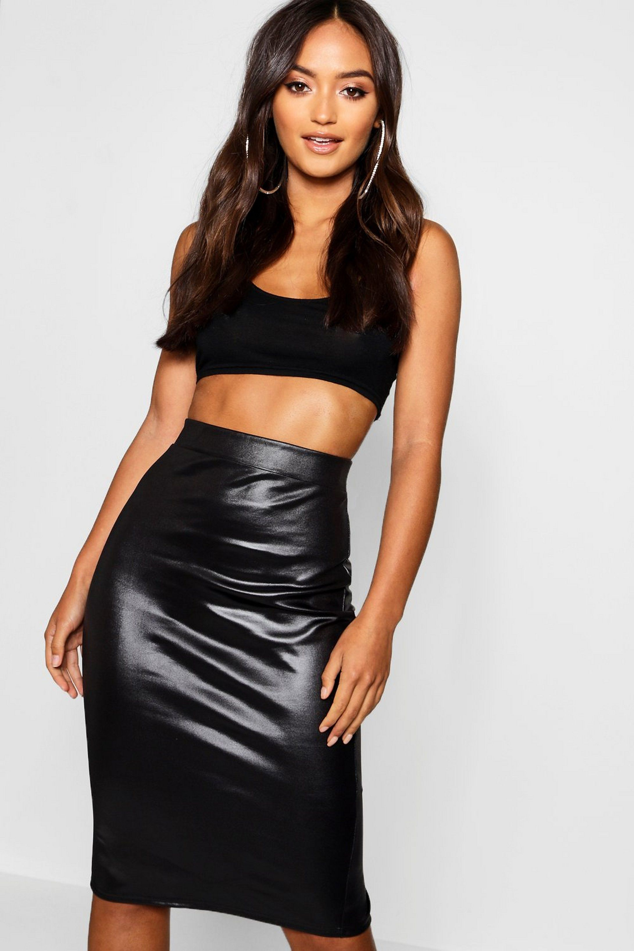 Pu Faux Leather Zip Front Midi Skirt | boohoo in 2021