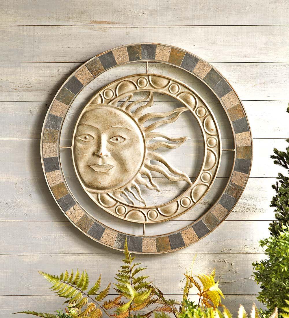 Metal U0026 Stone Sun Wall Art