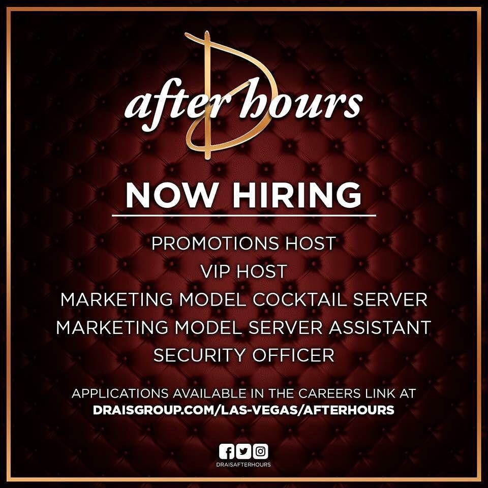 Vacancies at Drais Las Vegas coming up... www