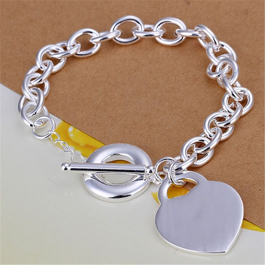 Beautiful wedding silver plated heartshaped pendant bolt buckle