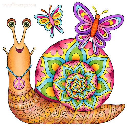 Groovy Snail From Thaneeya McArdles Hippie Animals Coloring Book Amazon Hippie