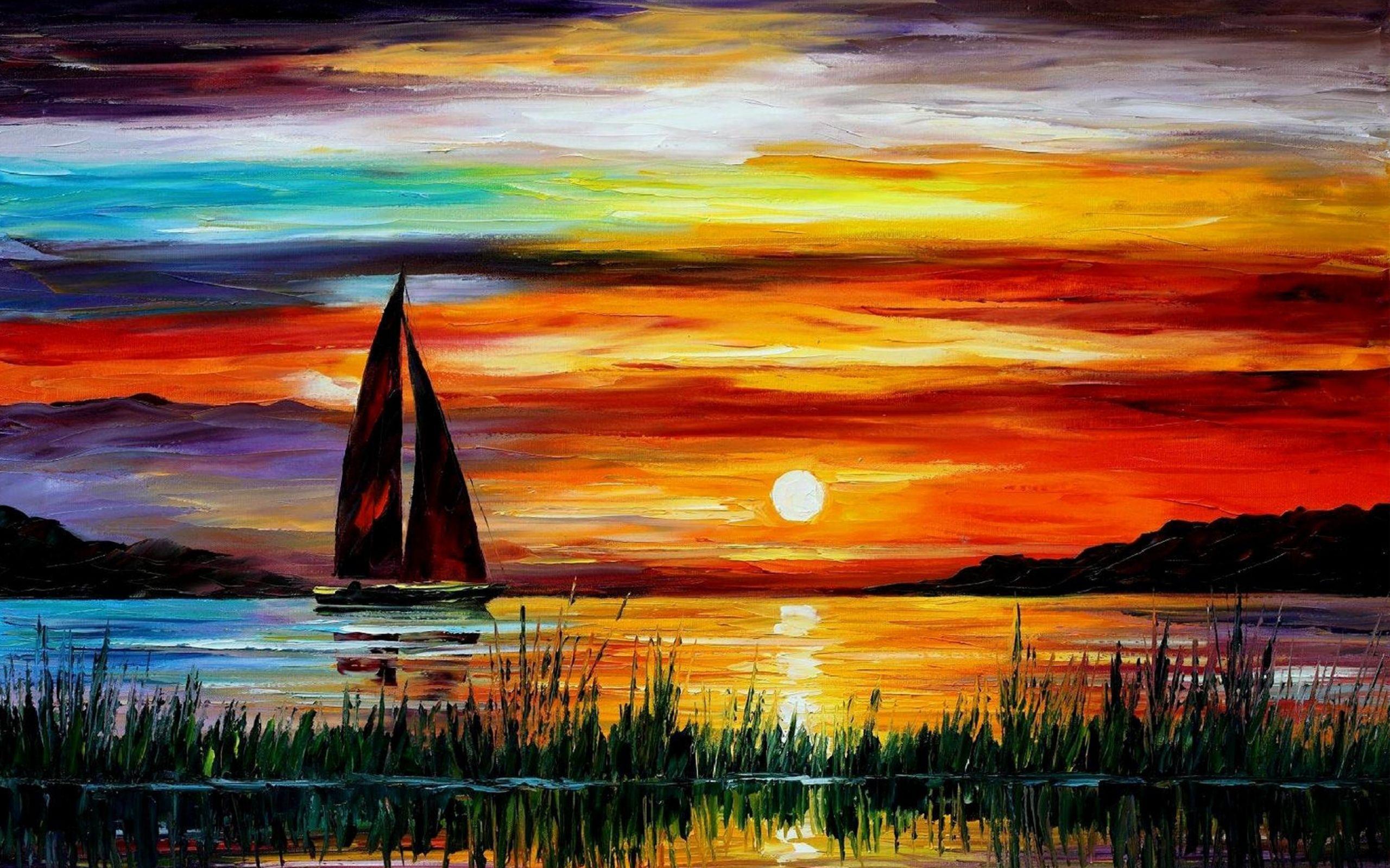 Sunset Paintings Leonid Afremov Sailboats Oil Painting 1900x1200