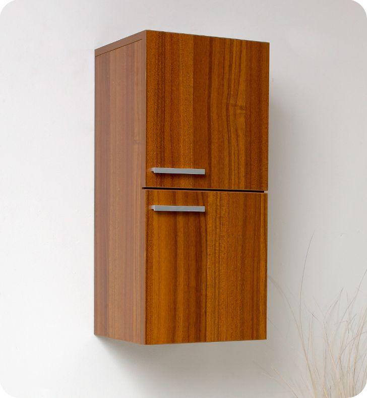 Fresca FSTTK Teak Bathroom Linen Side Cabinet W Storage Areas - Teak bathroom cabinet storage