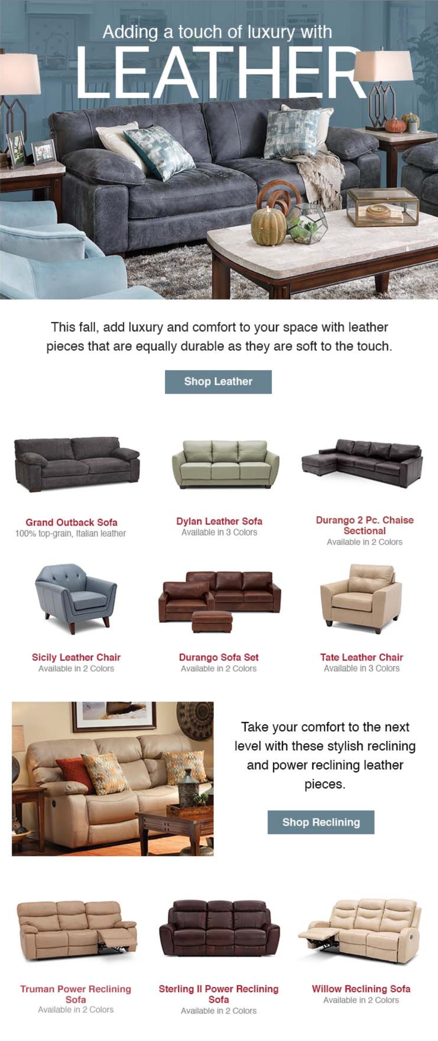 Leather Adds A Touch Of Luxury To Any Living Room From Sofas To Sectionals And Chairs Furniture Row H Rowe Furniture Living Room Pieces Living Room Furniture