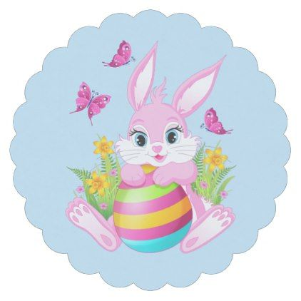 Pink easter bunny scalloped round paper coaster pink easter bunny scalloped round paper coaster paper gifts presents gift idea customize negle Choice Image