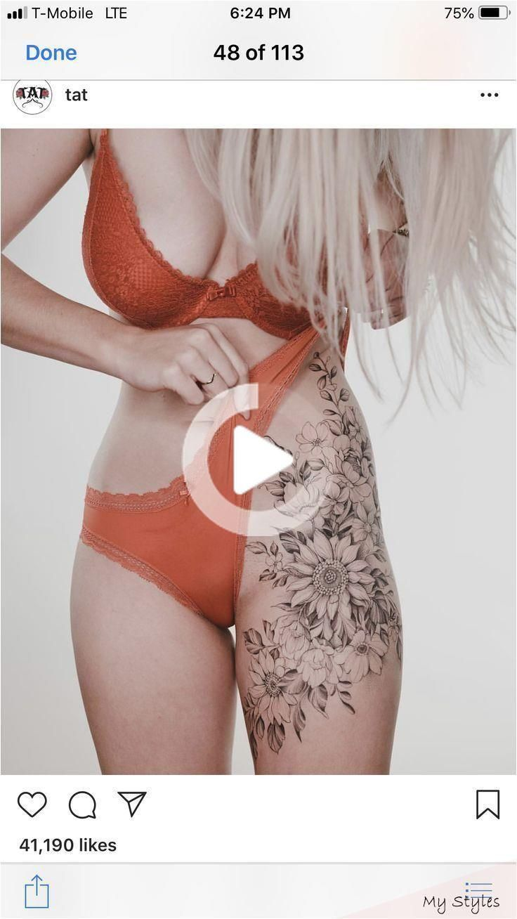 Flower thigh tattoo -  Flower thigh tattoo –  – #Flower #Tattoo #T