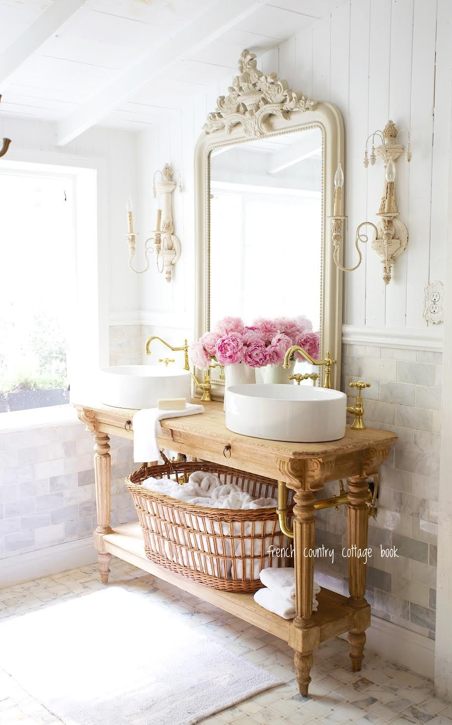 5 minute decorating- Five ways to style your bathroom for summer guests - French Country Cottage