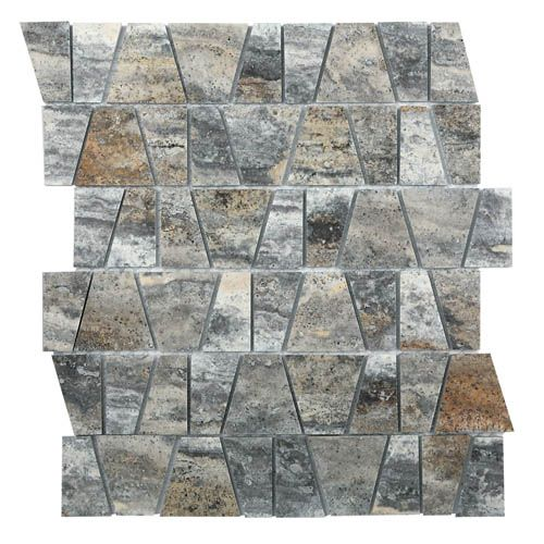 Castle Stone Pyramid Silver Mosaic Glass Feature Tiles Stone Mosaic