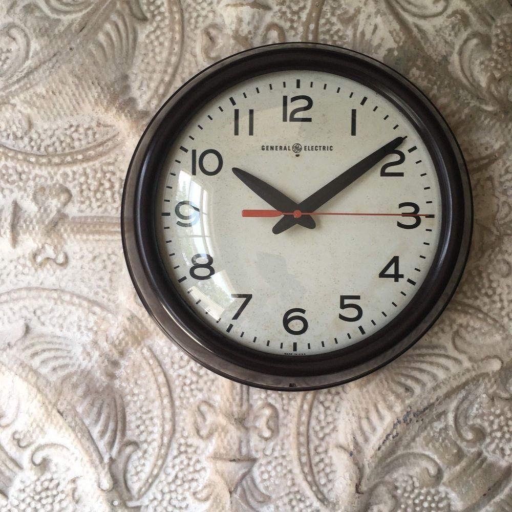 Exc Vtg General Electric School Clock Industrial Bakelite