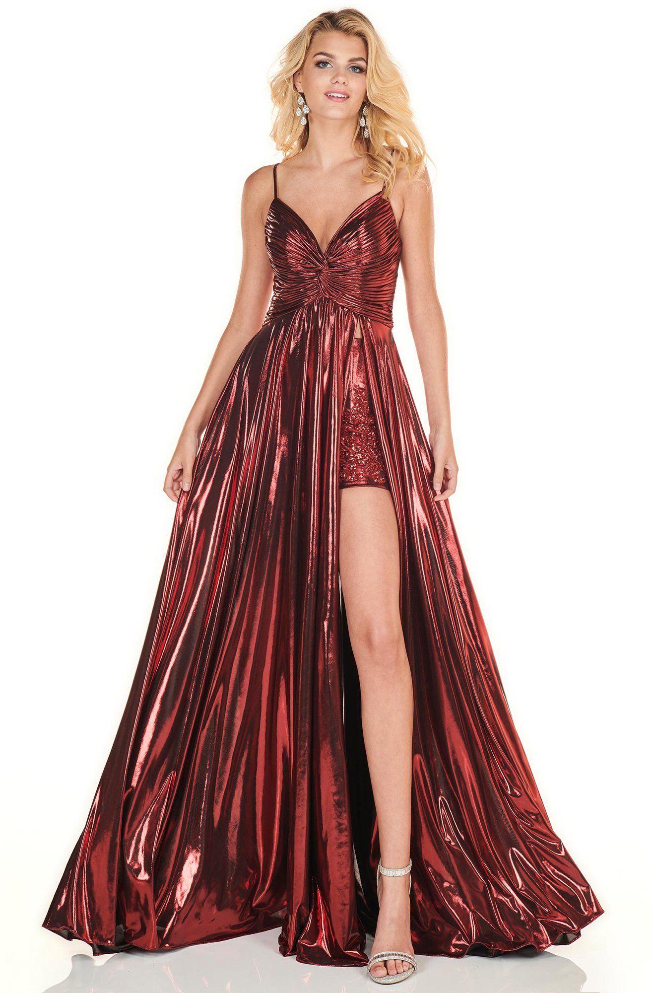 Rachel Allan Homecoming 4142 Ruched Deep V Neck A Line Gown In 2021 A Line Gown Rachel Allan Dresses Rachel Allan [ 2000 x 1314 Pixel ]