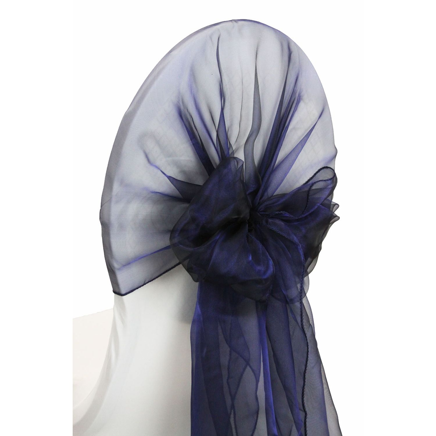 Snow Organza Chair Caps/hoods Navy Blue (clearance) in