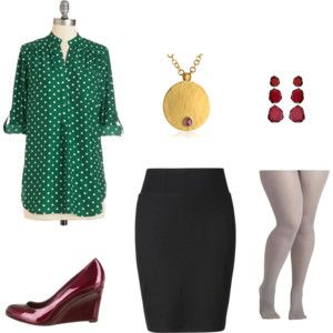 Burgundy and Green for the Office - Plus Size