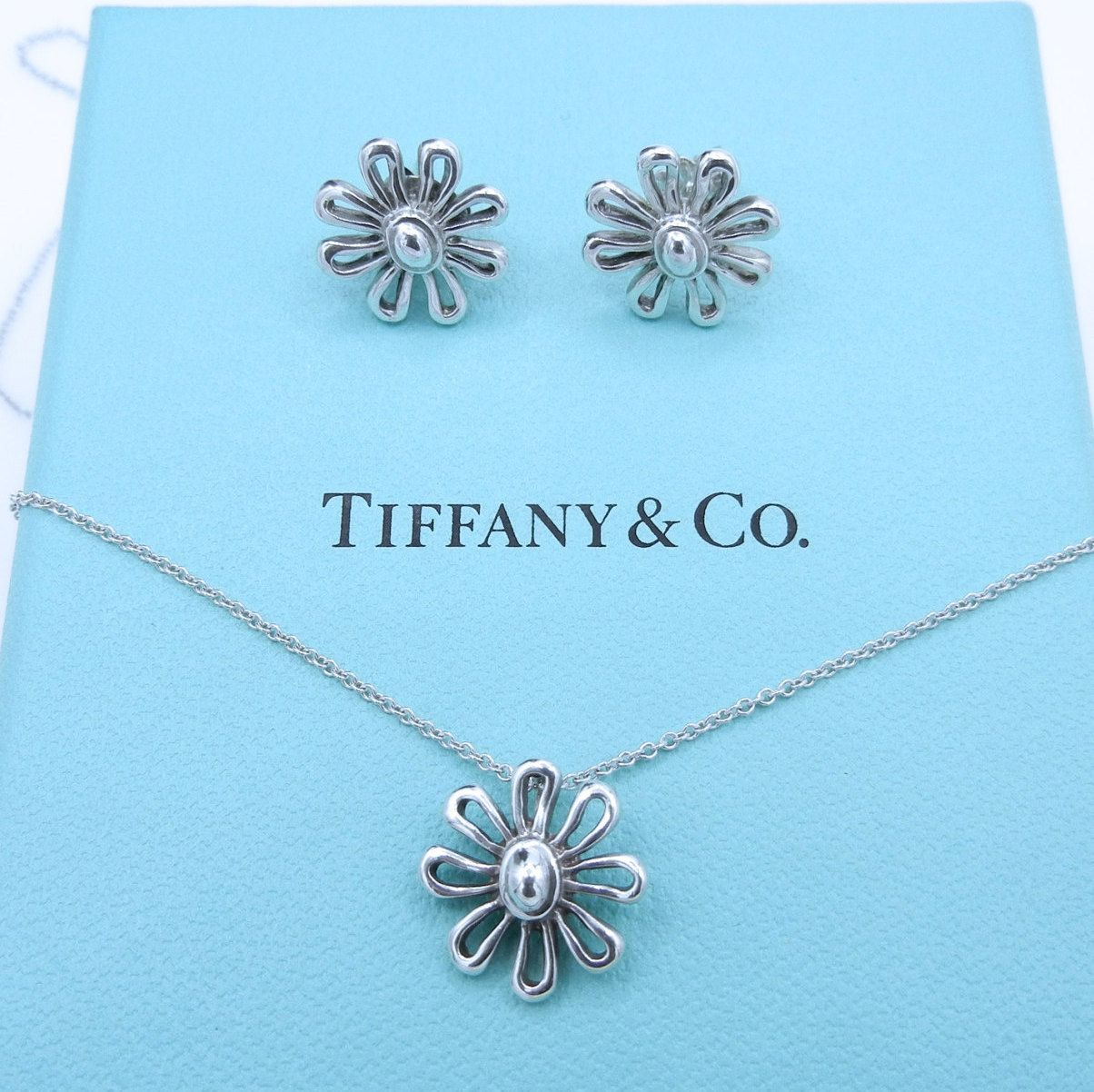 f49764b38 Tiffany & Co Daisy Paloma Picasso Set - Sterling Silver Daisy Pendant  Necklace and Earrings Set - Retired - Floral - Flower set # 4366 by  WatchandWares on ...