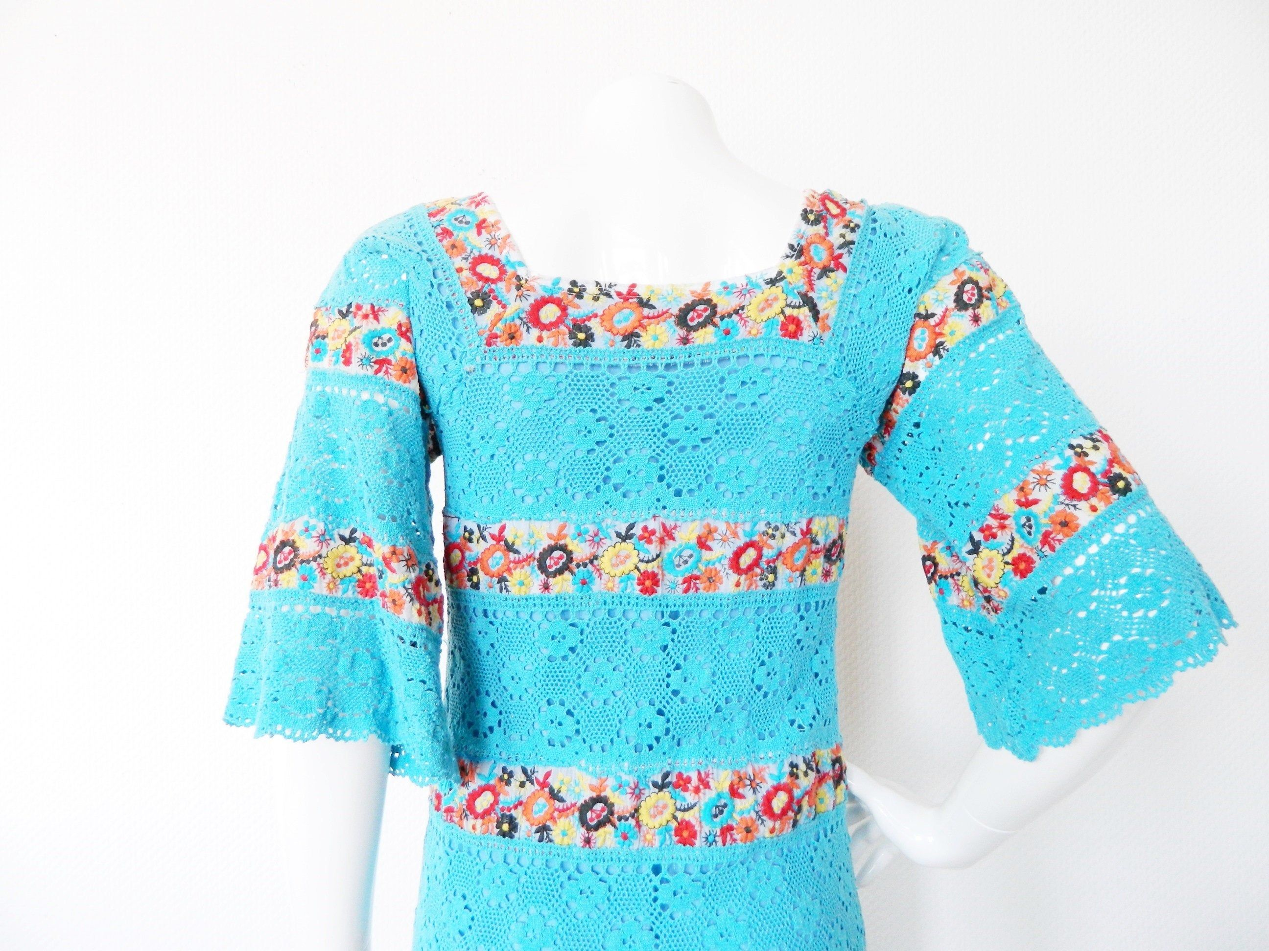 70er Jahre Kleid Beautiful 70s Dress Maxikleid Hakelkleid