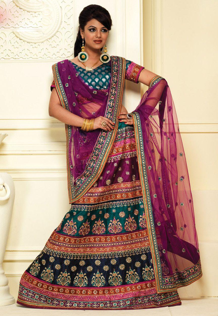 Bright #Multicolor Art Silk #A-Line #Lehenga Choli with Dupatta ...