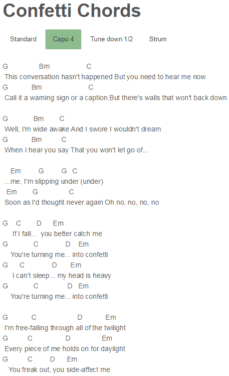 Confetti Chords Hilary Duff Song Lyrics Pinterest