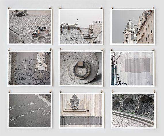 Paris Photography Collection, Gray Large Wall Art, Urban Home Decor