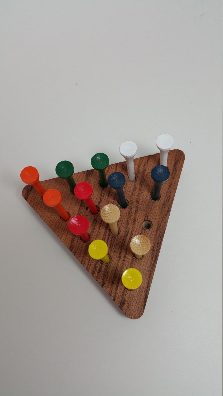 Golf Tee Game Wood Triangle Stocking Stuffer Oak Wooden Game Peg