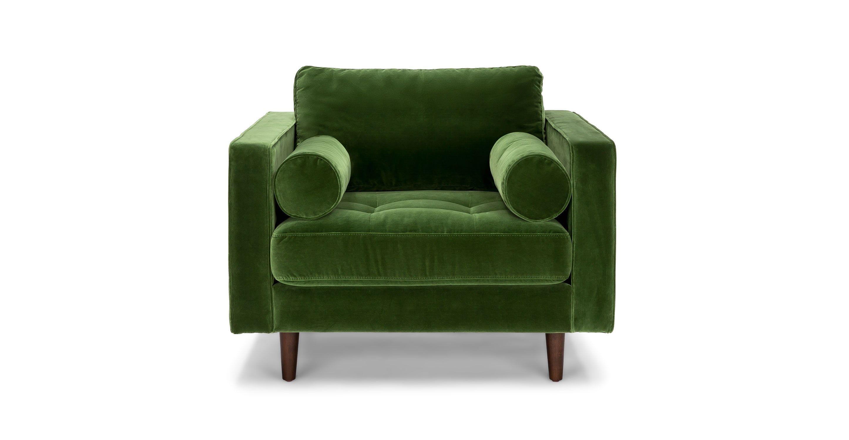 Green Velvet Tufted Chair With Bolsters