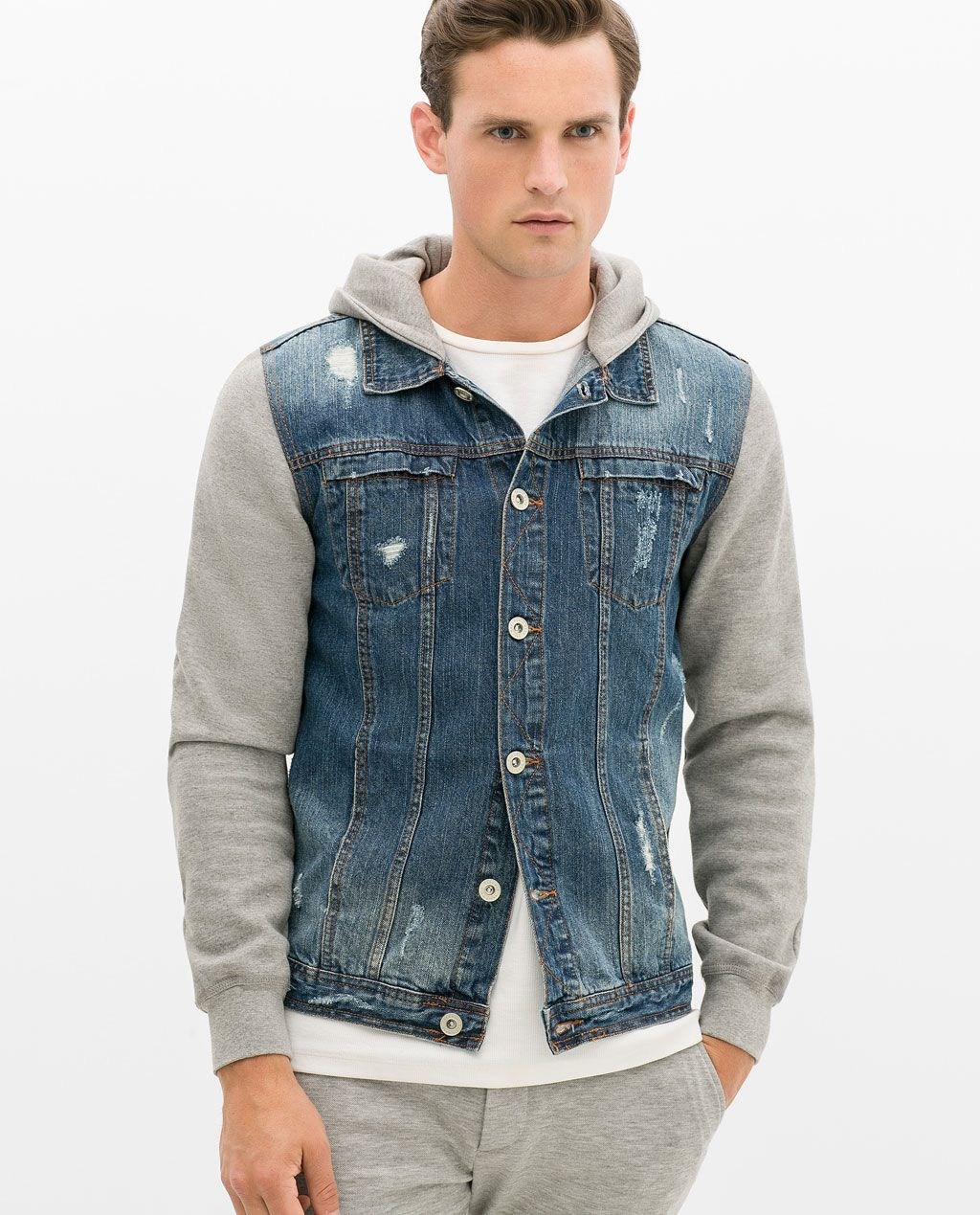 Image 2 Of Denim Jacket With Fleece Sleeves From Zara Pullover Und Jeans Jeansjacke Manner Jungs Hoodies [ 1269 x 1024 Pixel ]