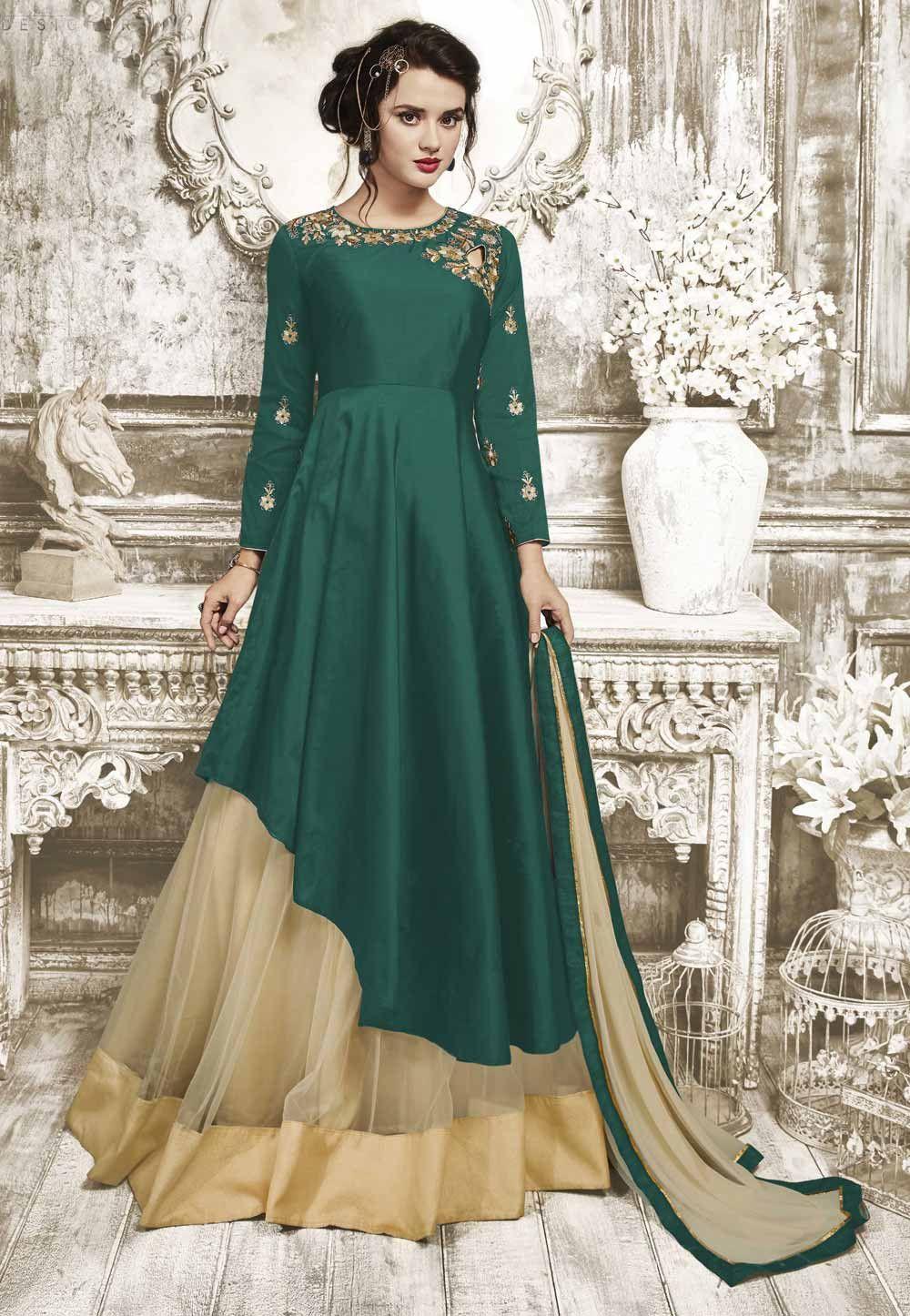 23fcdc4214 Anarkali Style Wonderful Salwar Kameez in Green Color Silk Fabric ...