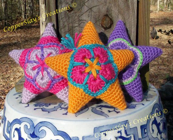 Crochet Star Pattern Amigurumi Star Applique Star Ornament Instant