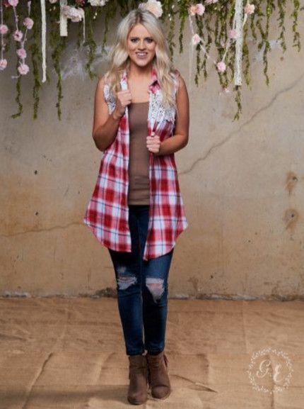 Plaid Sleeveless Vest, Red