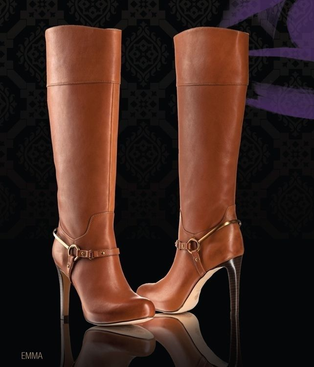 stilettos heels on these brown leather knee high