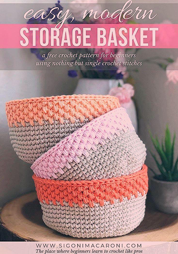 Photo of Easy Modern Crochet Storage Basket – Free Crochet Pattern
