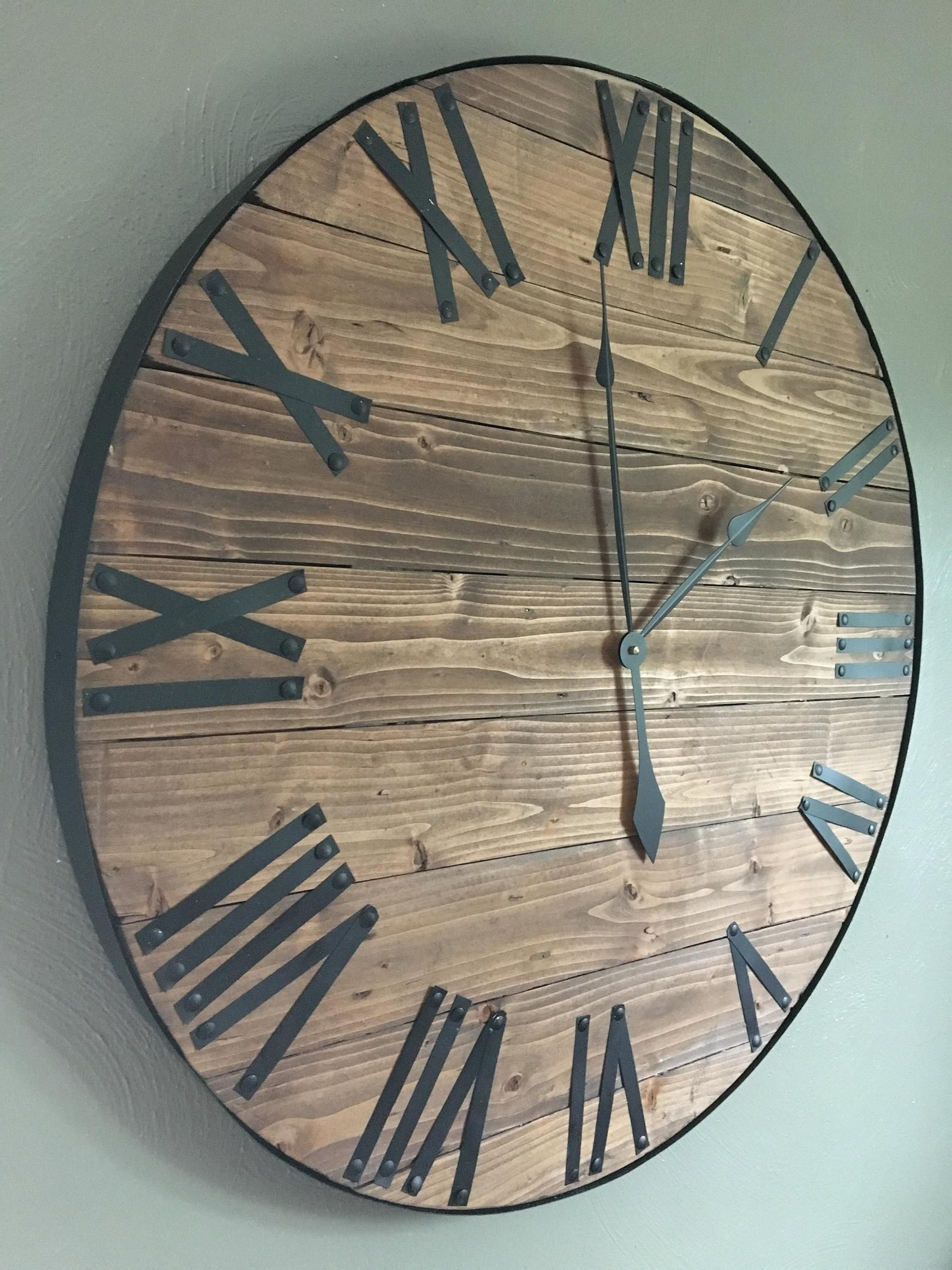 30 oversized rustic large wooden wall clock farmhouse
