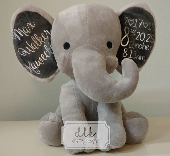 Birth announcement stuffed animal baby stats elephant plush birth announcement stuffed animal baby stats elephant plush nursery decor baby gift bringing home baby gift hospital gift negle Gallery