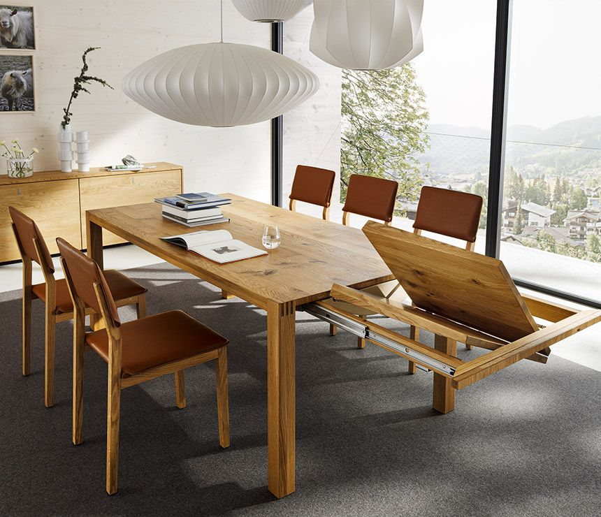 Luxury Solid Wood Extending Dining Table Shown In Oak Expandable