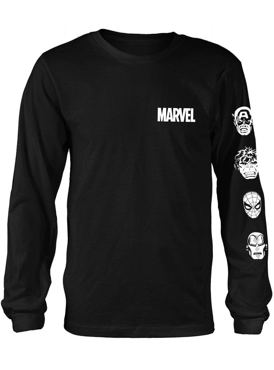 Marvel Comics Logo Camisa Manga Larga para Hombre