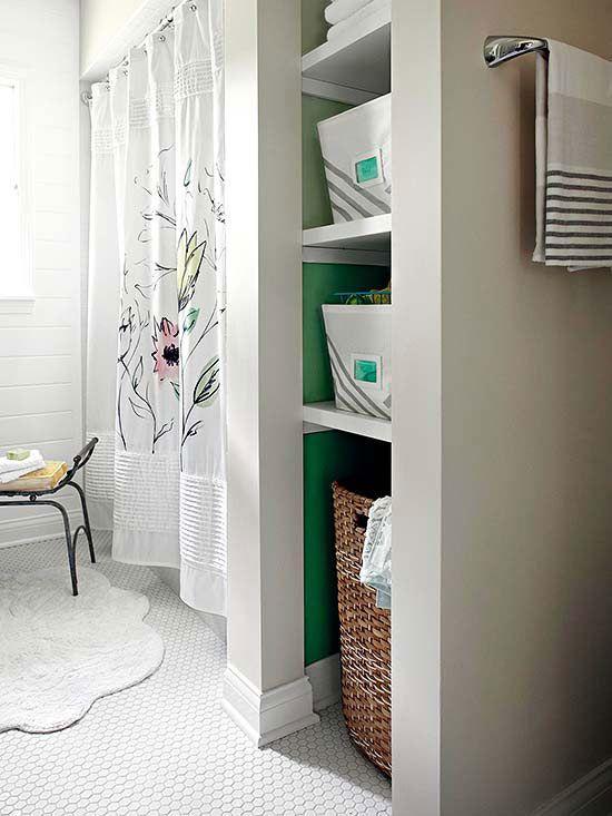 Bath Makeovers Under 2 000 Bathroom Closet Bathroom Storage Shelves Bathrooms Remodel