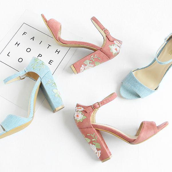 Pink Flower Embroidery Chunky Heel Sandals Mix Match Pinterest