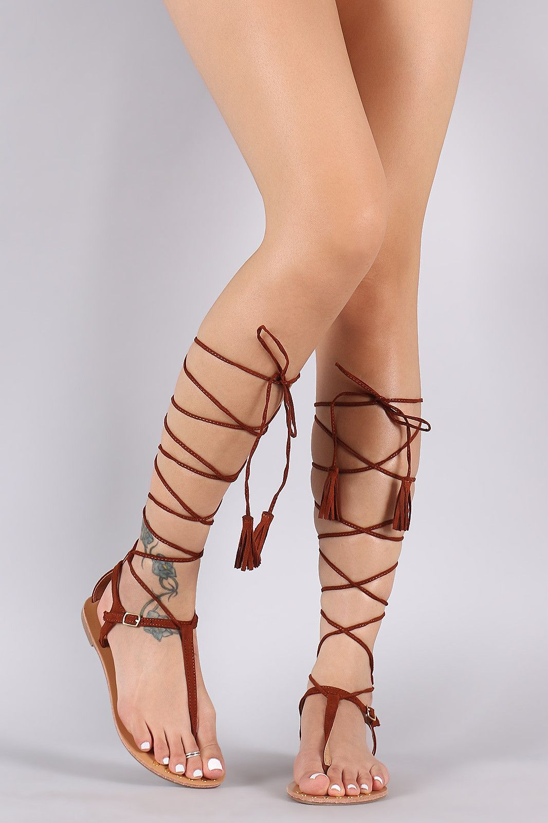 16e16eefb51dba Qupid Studded T-Strap Tassel Lace-Up Flat Sandal Flat Gladiator Sandals