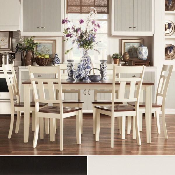 Tribecca Home Eli Rustic Twotone Mission Extending Dining Set Cool Two Toned Dining Room Sets Design Inspiration
