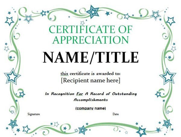 Certificate Of Appreciation   Craft Ideas