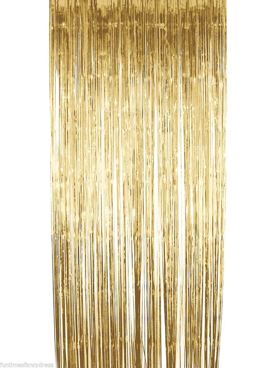 Lovely Gold Metallic Shimmer Curtain Backdrop Tassel Garland Balloon  ME47