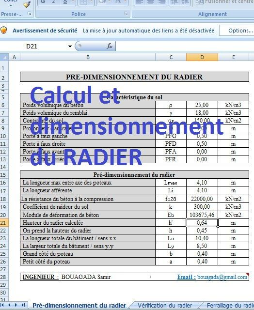 calcul et dimensionnement du radier sur excel cours de. Black Bedroom Furniture Sets. Home Design Ideas
