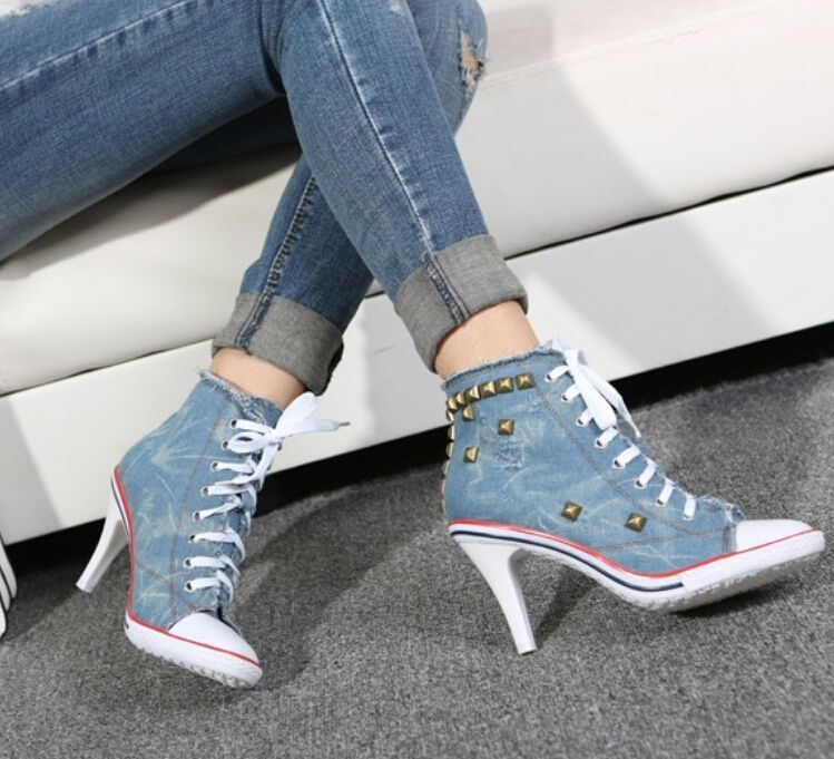 a532fe3b166e New Womens Denim Canvas Rivet High Heel Stilettos Lace Up Sneakers Shoes US  Size  madeinChina  laceupszipper