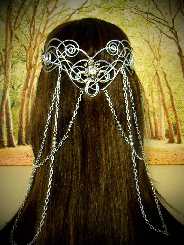 Pearl Medieval Celtic Headpiece Celtic Costume Jewellery Renaissance Wedding Bridal Headdress Pagan Wicca Celtic Beaded Head Chain